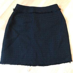 H&M Black Tweed Mini Skirt With Fringe